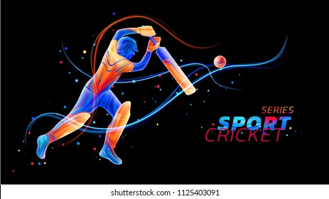 Vector abstract illustration of batsman playing cricket from colored liquid splashes and brush strokes with neon lines and colored dots. Championship and competition sports. 3d player silhouette.