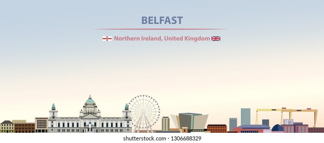 Vector abstract illustration of Belfast city skyline on colorful gradient beautiful day sky background with flags of Northern ireland and United Kingdom