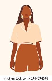 Vector abstract illustration of a black skin woman. Printable fashion wall art poster.