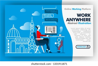 Vector abstract illustration .blue and white banner web or poster design about work anywhere. female worker work while on vacation in France. Paris city backgrounds and effel tower. Flat cartoon style
