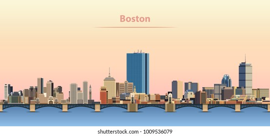 vector abstract illustration of Boston city skyline at sunrise