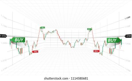 Vector abstract illustration. Financial market data. Forex trading concept. Stock exchange symbol.3D Vector  illustration