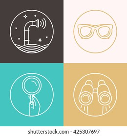 Vector abstract illustration in flat style - periscope, binoculars, glasses, magnifier - surveillance and control concept - social network broadcasting