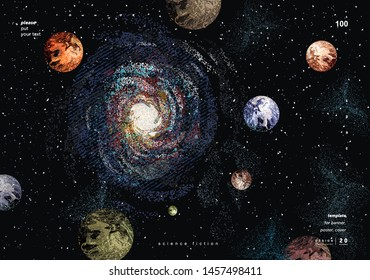 Vector abstract illustration of a galaxy and space with planets earth and mars. A drawing of a night starry sky for a pattern, background or texture.