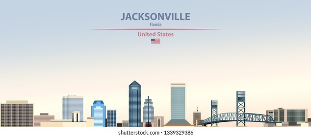 Vector abstract illustration of Jscksonville city skyline on colorful gradient beautiful day sky background with flag of United States
