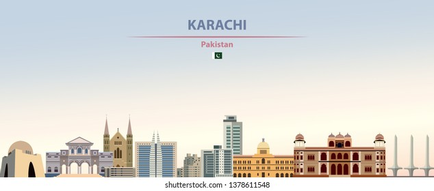 Vector abstract illustration of Karachi city skyline on colorful gradient beautiful daytime background