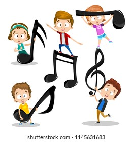 Vector abstract illustration of kids playing with music melodies