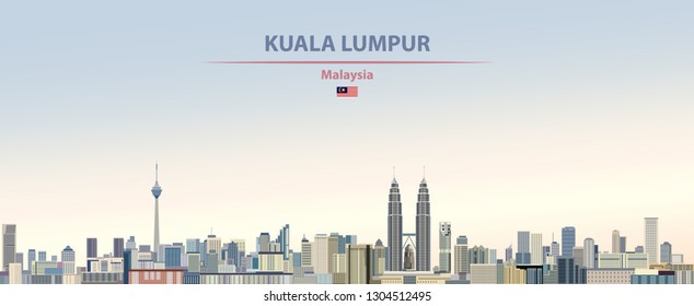 Vector abstract illustration of Kuala Lumpur city skyline on colorful gradient beautiful day sky background with flag of Malaysia