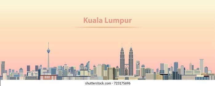 vector abstract illustration of Kuala Lumpur city skyline at sunrise