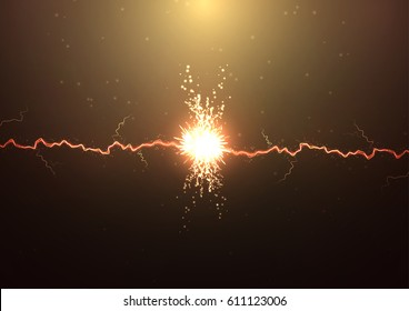 Vector abstract illustration. Lightning strikes on a dark background with a lot of sparks. The power of the elements. Storm force