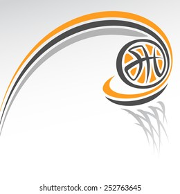 Vector abstract illustration for logo of basketball, consisting of basketball ball flying along the trajectory exactly in basket with net