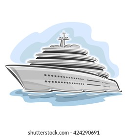 Vector abstract illustration of logo for cruising large mega Yacht, closeup on blue background.