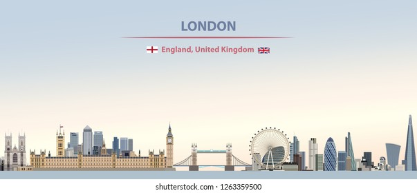 vector abstract illustration of London city skyline on colorful gradient beautiful day sky background with flags of England and United Kingdom
