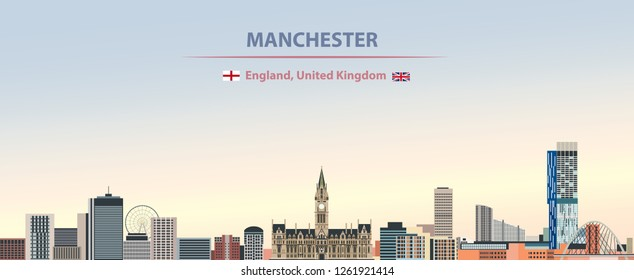 vector abstract illustration of Manchester city skyline on colorful gradient beautiful day sky background with flags of England and United Kingdom