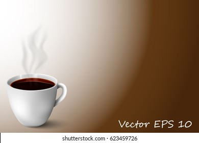 Vector, abstract illustration with a mug of coffee. For your design, postcard, poster, magazine, banner.