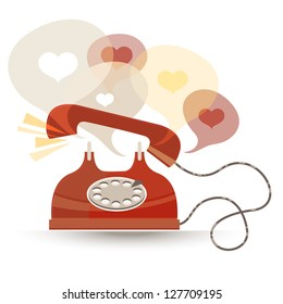 Vector abstract illustration of old-fashioned red phone. Hearts in text bubbles.