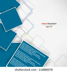 Vector abstract illustration overlapping blue square with shadow - eps10