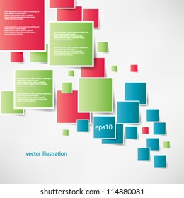 Vector abstract illustration overlapping geometrical shapes with bright colors background - eps10