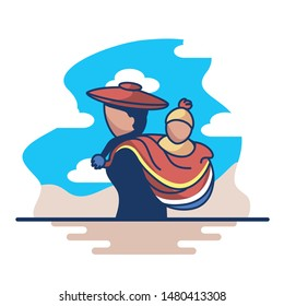 Vector Abstract Illustration Of Peruvian Woman Isolated