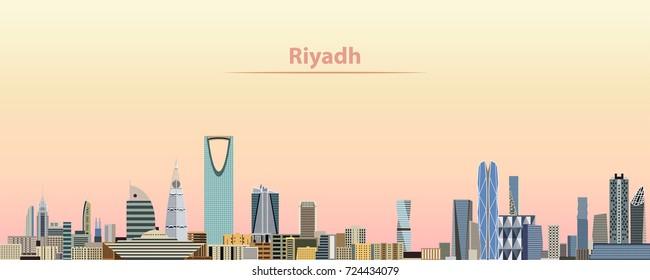 vector abstract illustration of Riyadh city skyline at sunrise