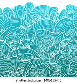 Vector abstract illustration with sea plants. Seabed illustration. Exotic tropical design.