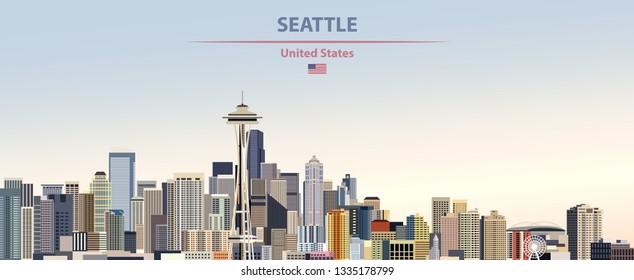 Abstrakte Illustration der Skyline von Seattle auf buntem Farbverlauf-schönem Himmelshintergrund mit der Flagge der Vereinigten Staaten von Amerika