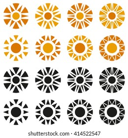 Vector abstract illustration of sun collection. Orange and black objects. Isolated on white background. Eps 8.