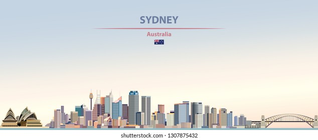 Vector abstract illustration of Sydney city skyline on colorful gradient beautiful day sky background with flag of Australia
