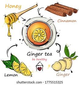 Vector abstract illustration with tea mug, ginger, cinnamon, honey and lemon. Ginger tea recipe. Be healthy! Hand drawing
