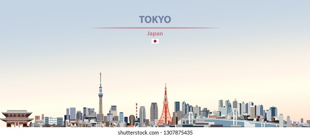 Vector abstract illustration of Tokyo city skyline on colorful gradient beautiful day sky background with flag of Japan