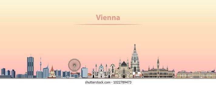 vector abstract illustration of Vienna city skyline at sunrise