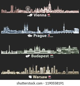 vector abstract illustration of Vienna, Prague, Budapest and Warsaw cities skylines at night in bright color palettes isolated on black background