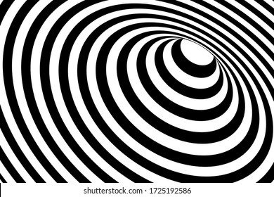 Vector abstract illustration of vortex with lines. Trendy 3d background in op art style, optical illusion.