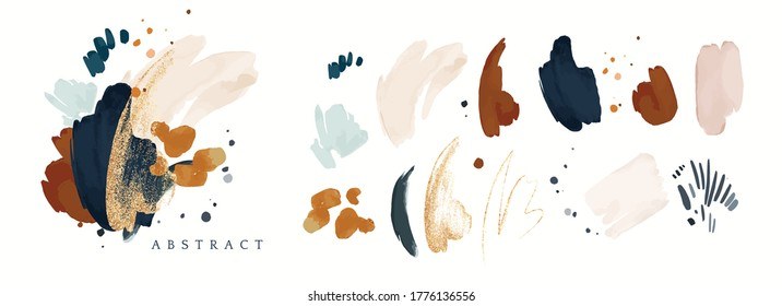 vector Abstract Illustration. watercolor and gold splash,  isolated on white background. elegant modern