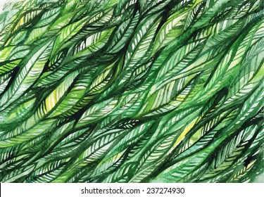 vector abstract illustration/ watercolor green leaves and a line/ card/ Christmas Tree/ abstract background