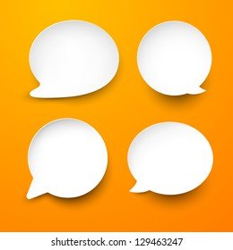 Vector abstract illustration of white paper rounded speech bubbles on orange background. Eps10.