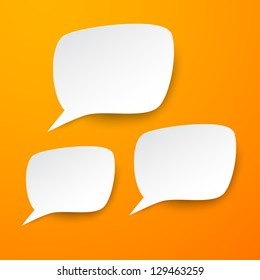 Vector abstract illustration of white paper speech bubbles on orange background. Eps10.