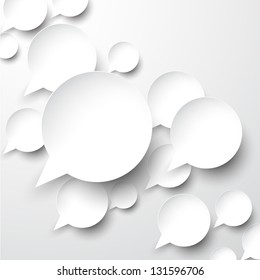 Vector abstract illustration of white paper speech bubbles on grey background. Eps10.