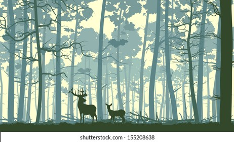 Vector abstract illustration of wild deer in forest with trunks of trees.