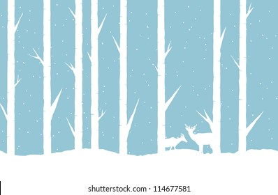 Vector abstract illustration of a winter forest with two deers.