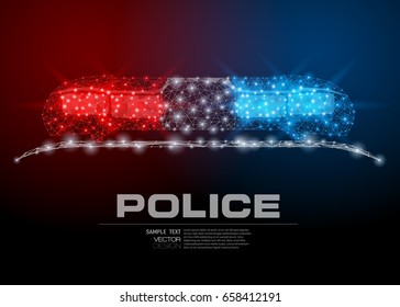 Vector abstract image of flashing indicators on a roof of the police car costs in the form of a starry sky or space, consisting of points and lines. Police guard defense wireframe concept.