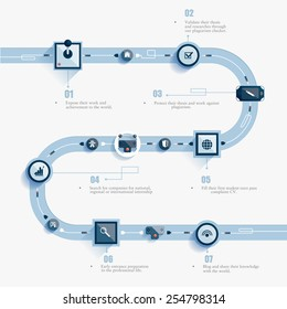 Vector abstract infographics road. Control levers communicate with one another. Clean, minimalist design. Used for informational graphs, reports, registration data, websites, printed materials, etc.