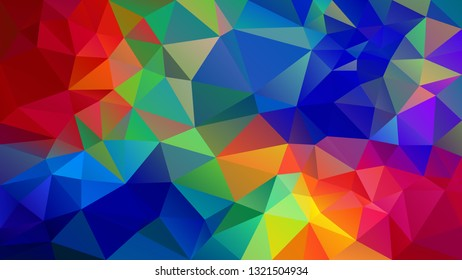 vector abstract irregular polygon background - triangle low poly pattern - full spectrum multi color rainbow - red, orange, yellow, green, blue