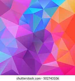 vector abstract irregular polygon background with a triangular pattern in spring vibrant pastel neon colors