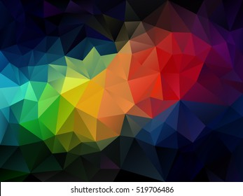 vector abstract irregular polygon background with a triangle pattern in rainbow full color spectrum