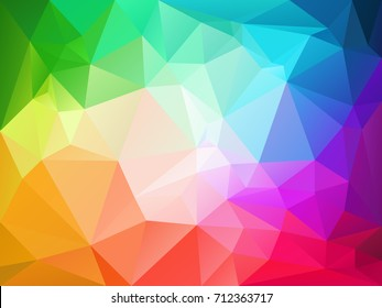 vector abstract irregular polygon background with a triangle pattern in full color spectrum rainbow with light reflection in the middle