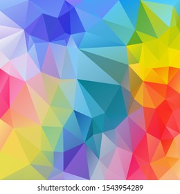 vector abstract irregular polygon square background - triangle low poly pattern - full spectrum multi color rainbow light pastel