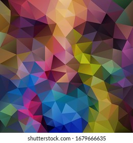 vector abstract irregular polygon square background - triangle low poly pattern - multi color variegated