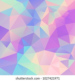 vector abstract irregular polygonal background - triangle low poly pattern - cute pastel unicorn color spectrum - hologram