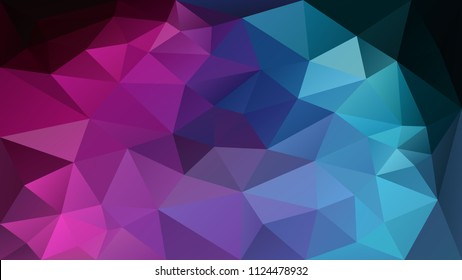 vector abstract irregular polygonal background - triangle low poly pattern - neon pink magenta purple violet blue cyan color